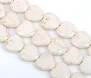 20mm Howlite Heart Beads, White, Puffy Heart Beads, how0683 Crafting Key Chain Bracelet Necklace Jewelry Accessories Pendants