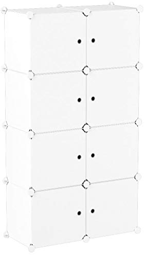 MAGINELS Wardrobe Armoire Closet Organizer Clothes Cube Storage for Clothes Bedroom Portable Large White 5 Cube & 1 Rod