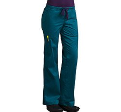 MedCouture by Peaches Ladies Moda Boot Leg Cut Scrub Pant (Teal/Eggplant Large Petite) (Petite Shop All View)