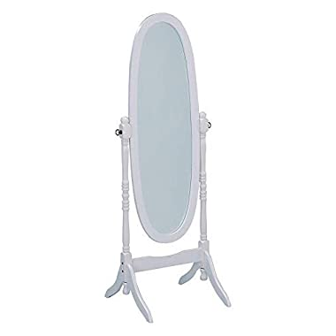 Roundhill Furniture Traditional Style Wood Cheval Floor Mirror, White