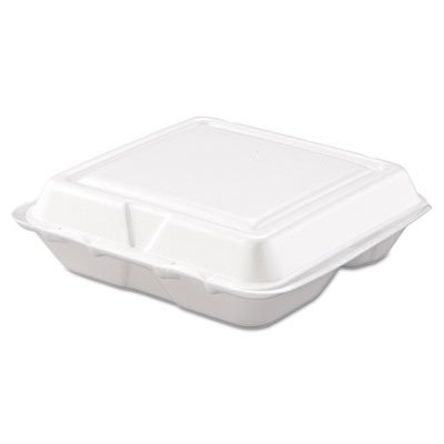 Dart 80HT3R Carryout Food Container, Foam, 3-Comp, White, 8 x 7 1/2 x 2 3/10 (Case of 200) (Foam Hinged Container 8x8x3)