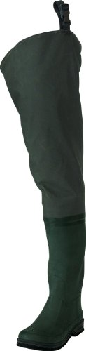 Frogg Toggs Cascades 2-Ply Rubber Bootfoot Felt Sole Hip Wader, Forest Green, 11 (Hip Steel Boots Rubber Toe)