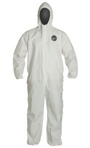 Coverall 1 Proshield (XL White ProShield 60 Storm Flap Serged Seams Elastic Wrists & Ankles w/Resp Fit Hood Coverall NP, (Case of 25))