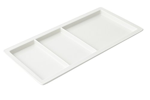 Bon Chef 9084 Aluminum Compartment Tray, 18'' Length x 9-1/2'' Width, Sandstone White (Pack of 3) by Bon Chef