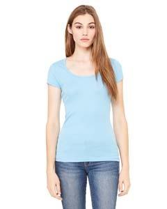 Ladies Sheer Rib Cap (Bella Women's Margot Sheer Rib Scoop Neck Cap-Sleeve T-Shirt_2XL_OCEAN BLUE)