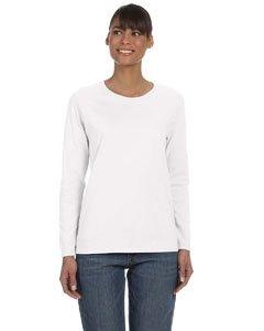 Gildan womens Heavy Cotton 5.3 oz. Missy Fit Long-Sleeve T-Shirt(G540L)-WHITE-XL (Bling Basic Grey)