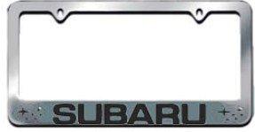 subaru license plate frame chrome block