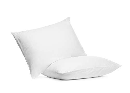 Set of Two 100% Cotton Hotel Down-Alternative Made in USA Pillows – Three Comfort Levels! (Silver, Standard)