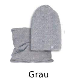 EU Ware AJS Damen Winterset Winterm/ütze Strickm/ütze Beanie M/ütze Loopschal mit Wolle