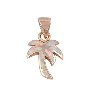 (16MM ROSE GOLD Plated Sterling Silver White Lab Opal Palm Tree Pendant Necklace)