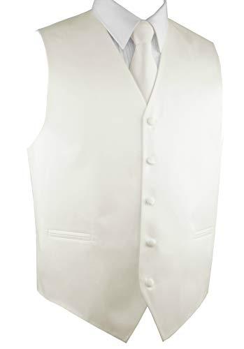 Brand Q Men's Formal Prom Wedding Tuxedo Vest, Tie & Pocket Square Set-Ivory-XL