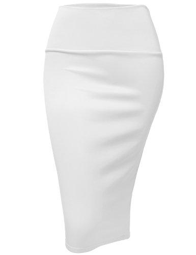 Luna Flower Women's Stretch Knee Pencil Skirt - Elastic Waist/Easy Office Outfit White Medium (GSKW005) -
