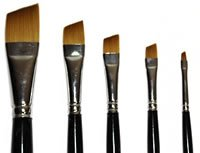 Loew Cornell Golden Taklon 5 Piece Angular Shader Brush Set, 7400 Series