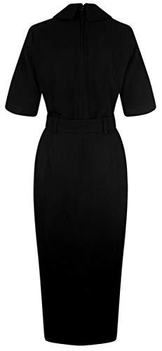 Schwarz Plain Vintage Zoeh Damen Collectif Pencil Kleid Midi Dress zx8wP