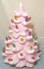 11 Inch Pink Ceramic Christmas Tree with Base Lights Up