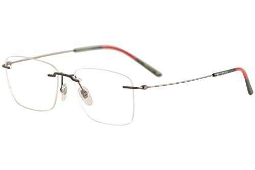 d9d9613de53 Image Unavailable. Image not available for. Color  Gucci GG 0399O 001  Ruthenium Metal Rimless Eyeglasses 56mm