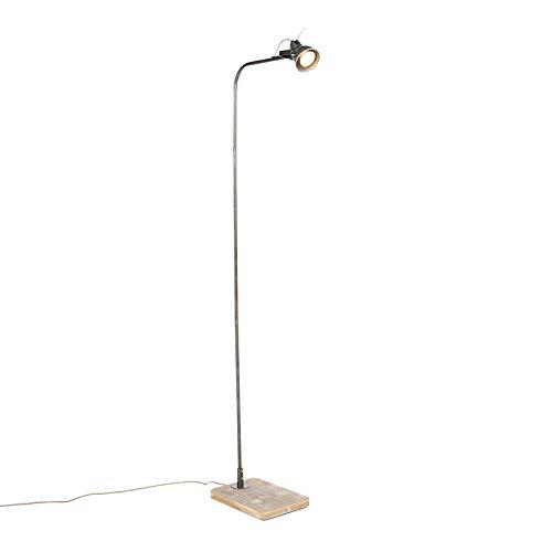 QAZQA Industrial Lámpara de pie industrial negro madera ...