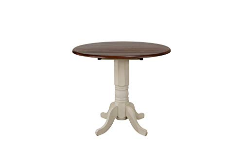 (Sunset Trading DLU-ADW4242CB-AW Andrews Dining Table Antique White with Distressed Chestnut top)