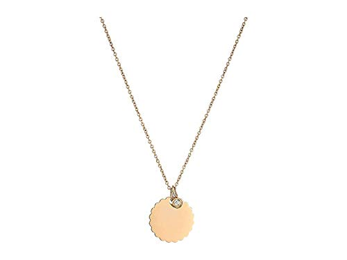 Fossil Women's Casual Round Pendant Necklace Rose Gold One Size (Fossil Round Pendant)
