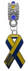 (Boston Strong Blue & Yellow Ribbon BLUE/YELLOW Rhinestone/Gem Charm with Connector - Universal Sllide On Charm -
