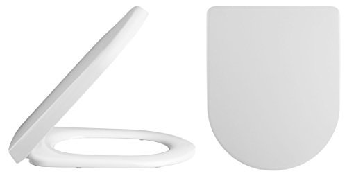 VeeBath Loire Minimalist WHITE D SHAPE Soft Close Toilet Seat with Top Fix / Blind Hole Fittings and PUSH BUTTON Quick Release Hinges by VeeBath