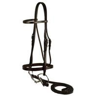 Flat Hunt Bridle - GATSBY LEATHER COMPANY 102-H Horse Flat Snaffle Bridle