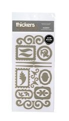 American Crafts Thickers Chipboard Stickers, Accents Metallic Silver ()