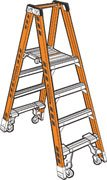 Twin Platform Stepladder, 8 ft, FGL, 300 lb - Twin Platform Step Ladder