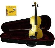 Grace 1/10 Size Gold Violin for Beginners, Students with Case and Bow, Free Rosin and Extra Set of Merano Brand Strings for Replacement