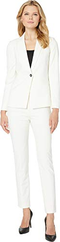 (Tahari by ASL Women's Bi-Stretch Pants Suit with Hardware Trim Chalk Blue 18)