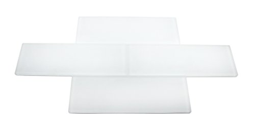Premium Quality Super White Frosted 3x9 Glass Subway Tile for Bathroom Walls, Kitchen Backsplashes by Vogue Tile