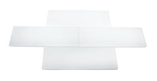 Super White Frosted - 3x9 Bright White Subway Glass Tile - Bathroom Tile & Kitchen Backsplash Tile (Price Per 3 Square Feet, 16 Pieces) (White Kitchen Backsplash compare prices)