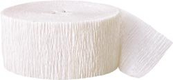 81ft White Crepe Paper Streamers, 2ct