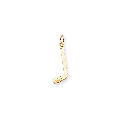 10k Hockey Charm - 10k Yellow Gold HOCKEY STICK Charm Pendant