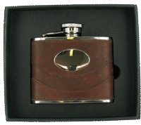 Plate Personalised Message (Personalised Brown Spanish Leather 4oz Hip Flask Set Plate Engraved with your message FL29S)