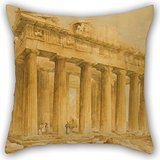 Artistdecor The Oil Painting Lusieri Giovanni Battista - The Parthenon From The Northwest Cushion Cases Of ,18 X 18 Inches / 45 By 45 Cm Decoration,gift For Family,coffee House,wife,kids,home Theate