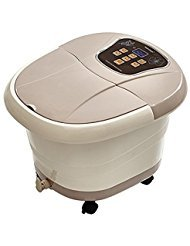All in One Foot Spa Bath Massager Motorized Rolling Massage Heat Wave Digital Temperature Control LED Display (Brown)