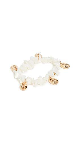 SHASHI Women's Waves Bracelet, White/Gold, One Size
