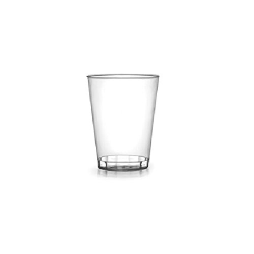 Fineline Settings 401-CL, 1 Oz. Quenchers Clear Plastic Shot Glasses, Disposable Heavy Base Shot Vodka Liquor Glasses (100) by Fineline settings