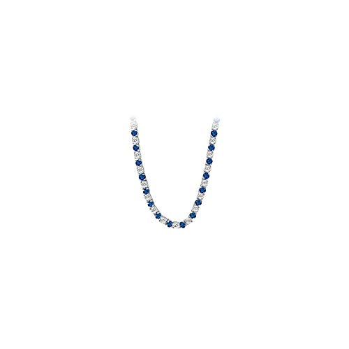 Created Sapphire CZ Tennis Necklace in 14K White Gold 16.00.ct.tw ()