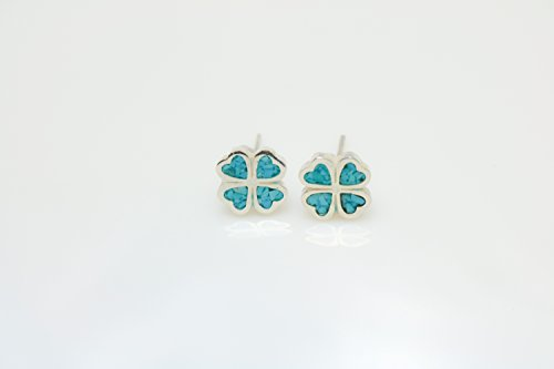 Four-leaf Turquoise Micro Mosaic Sterling Silver Clover Stud Earrings, Semi Precious Gemstone by Handmade - Turquoise Stud Coral