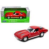 1963 Chevrolet Corvette Red 1/24-1/27 Diecast Model Car by Welly 24073 ()