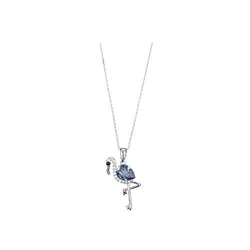 Joeyan Sparkling Flamingo Swarovski Elements Crystal Rhinestone Silver Pendant Necklace Popular Women Valentine's Day Necklace, Blue