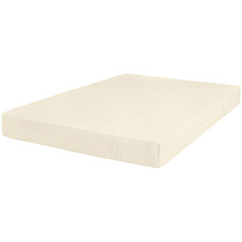 (AmazonBasics Ultra-Soft Cotton Fitted Sheet - Queen, Ivory)