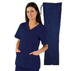 Natural Uniforms Women's Mock Wrap Scrub Set (Navy Blue) (X-Small) - Womens Navy Uniform