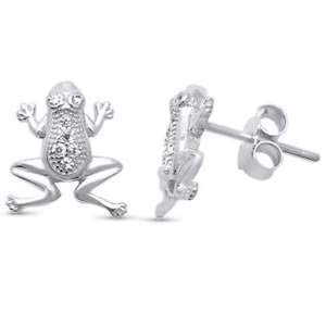 Cute! Micro Pave Cubic Zirconia Frog Stud 925 Sterling Silver Earrings - Jewelry Accessories Key Chain Bracelet Necklace ()