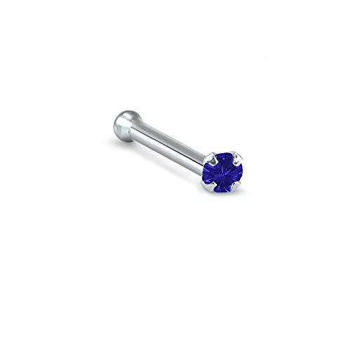 Titanium Nose Bone Ring 1.5mm Round Stone Navy Blue 20G