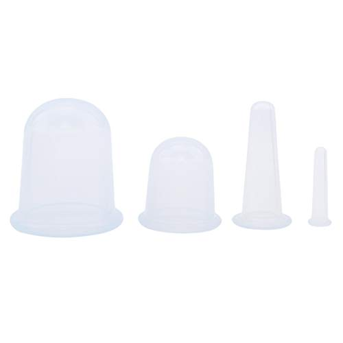 Lehao 4Pcs/Set Silicone Vacuum Massage Therapy Suction Cupping Cups - Cup for Cellulite Remover & Body Massage Treatment