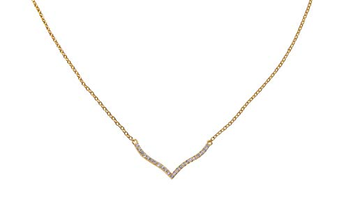 Jenna Hunter Gold Plated & CZ Wave Necklace - Fashionable and Unique Design for Women 925 Sterling Silver Base with Cubic Zirconia -