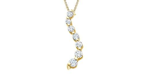 Jewel Zone US Journey Natural Diamond Pendant 10k Yellow Gold (1/10 cttw) -